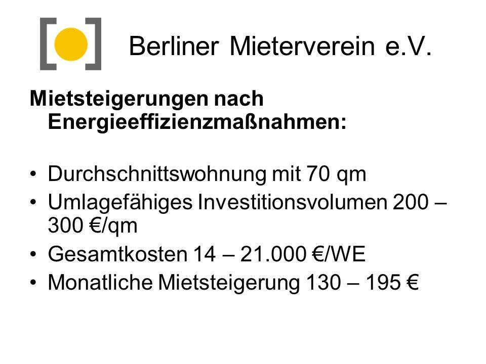 Berliner Mieterverein e.V. Mietsteigerungen nach Energieeffizienzmaßnahmen: Durchschnittswohnung mit 70 qm Umlagefähiges Investitionsvolumen 200 – 300