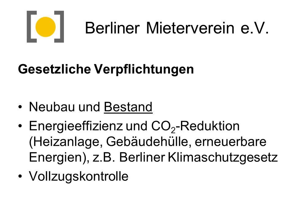 Berliner Mieterverein e.V. Gesetzliche Verpflichtungen Neubau und Bestand Energieeffizienz und CO 2 -Reduktion (Heizanlage, Gebäudehülle, erneuerbare