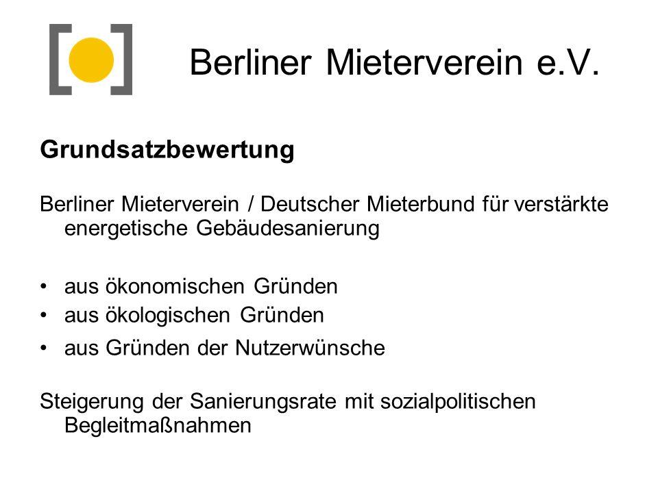 Berliner Mieterverein e.V. Grundsatzbewertung Berliner Mieterverein / Deutscher Mieterbund für verstärkte energetische Gebäudesanierung aus ökonomisch