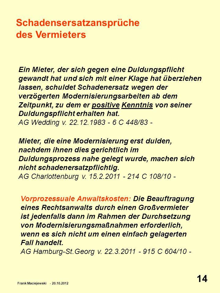 Frank Maciejewski - 20.10.2012 14 Schadensersatzansprüche des Vermieters Ein Mieter, der sich gegen eine Duldungspflicht gewandt hat und sich mit eine