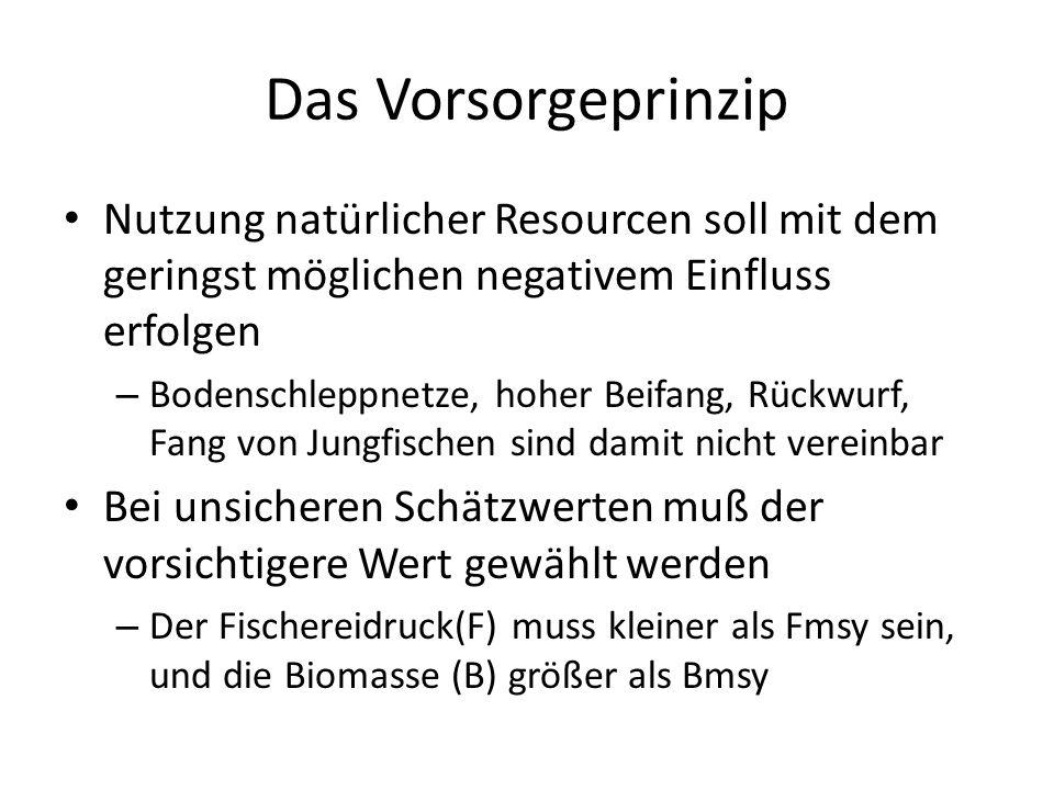 Das Vorsorgeprinzip Nutzung natürlicher Resourcen soll mit dem geringst möglichen negativem Einfluss erfolgen – Bodenschleppnetze, hoher Beifang, Rückwurf, Fang von Jungfischen sind damit nicht vereinbar Bei unsicheren Schätzwerten muß der vorsichtigere Wert gewählt werden – Der Fischereidruck(F) muss kleiner als Fmsy sein, und die Biomasse (B) größer als Bmsy