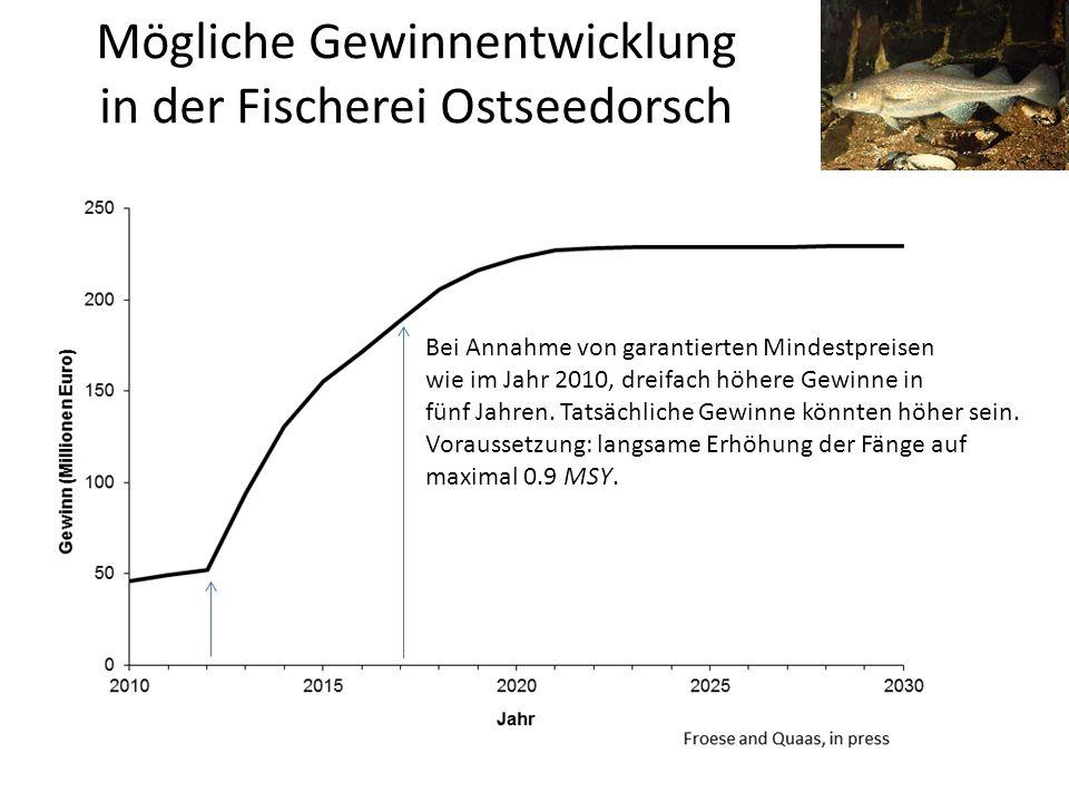 Mögliche Gewinnentwicklung in der Fischerei Ostseedorsch Bei Annahme von garantierten Mindestpreisen wie im Jahr 2010, dreifach höhere Gewinne in fünf