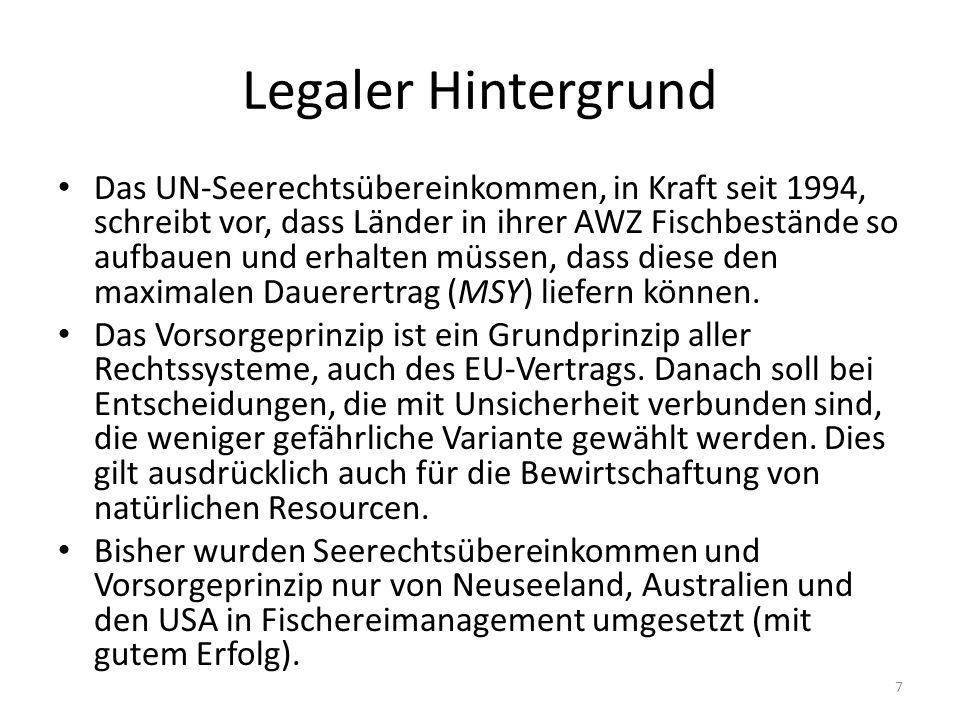 Legaler Hintergrund Das UN-Seerechtsübereinkommen, in Kraft seit 1994, schreibt vor, dass Länder in ihrer AWZ Fischbestände so aufbauen und erhalten m