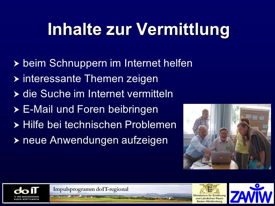 Inhalte zur Vermittlung beim Schnuppern im Internet helfen interessante Themen zeigen die Suche im Internet vermitteln E-Mail und Foren beibringen Hil