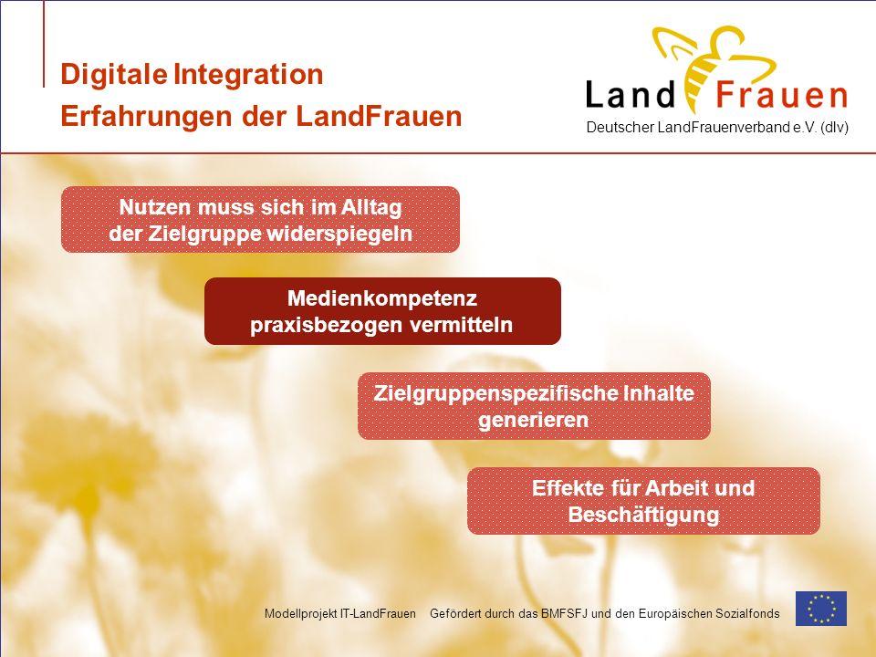 Deutscher LandFrauenverband e.V. (dlv) Modellprojekt IT-LandFrauen Gefördert durch das BMFSFJ und den Europäischen Sozialfonds Digitale Integration Er