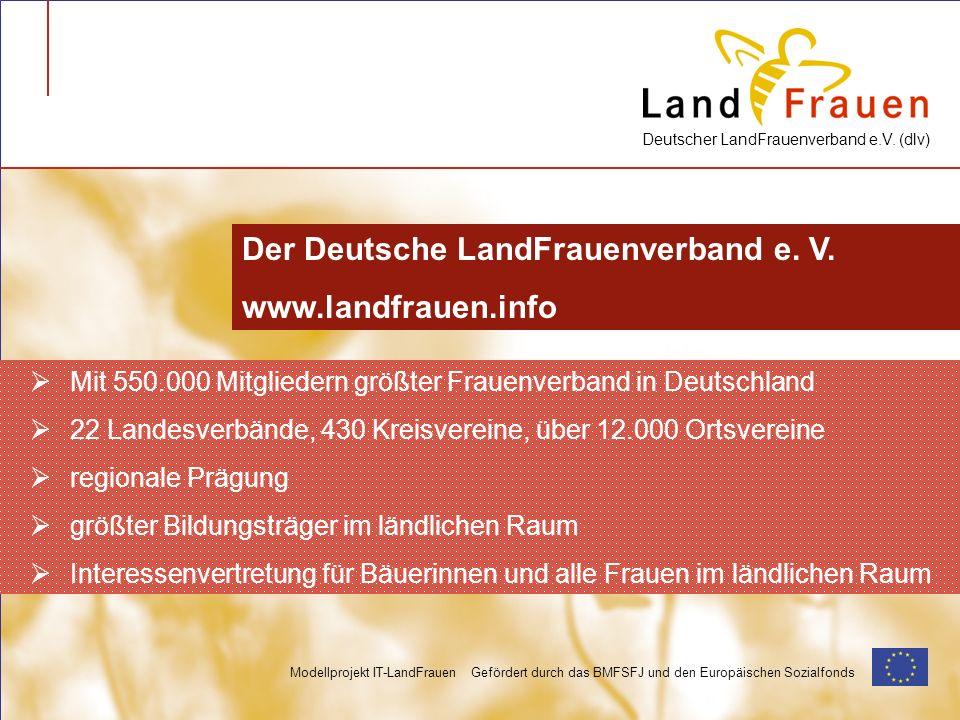 Deutscher LandFrauenverband e.V. (dlv) Modellprojekt IT-LandFrauen Gefördert durch das BMFSFJ und den Europäischen Sozialfonds Mit 550.000 Mitgliedern