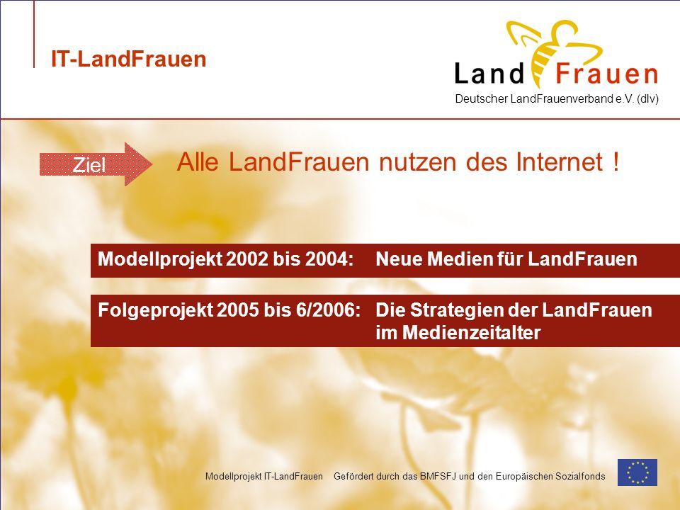 Deutscher LandFrauenverband e.V. (dlv) Modellprojekt IT-LandFrauen Gefördert durch das BMFSFJ und den Europäischen Sozialfonds Modellprojekt 2002 bis