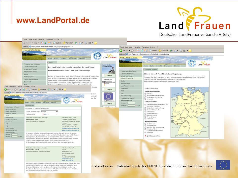 Deutscher LandFrauenverband e.V. (dlv) Modellprojekt IT-LandFrauen Gefördert durch das BMFSFJ und den Europäischen Sozialfonds www.LandPortal.de