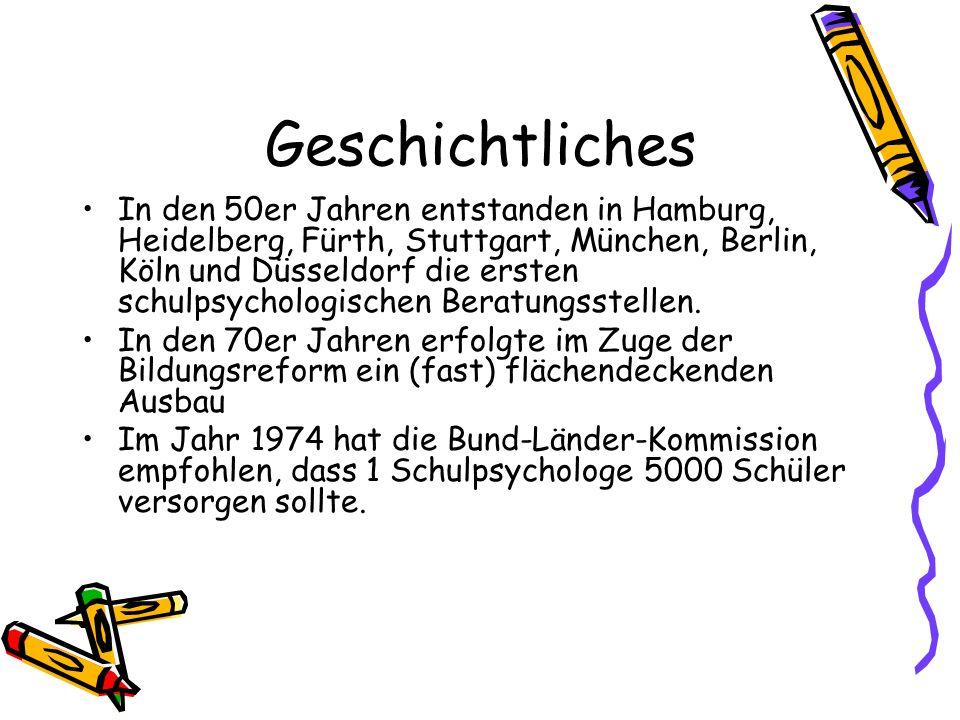 Geschichtliches In den 50er Jahren entstanden in Hamburg, Heidelberg, Fürth, Stuttgart, München, Berlin, Köln und Düsseldorf die ersten schulpsycholog