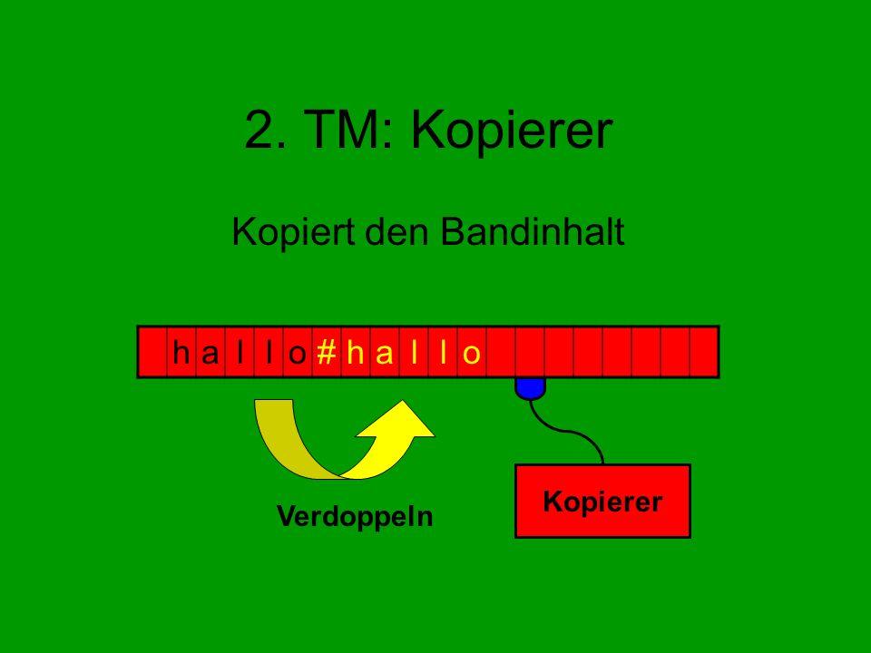 2. TM: Kopierer Kopiert den Bandinhalt hallo#hallo Kopierer Verdoppeln