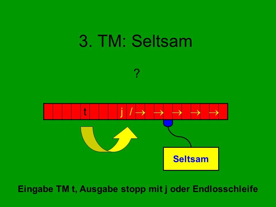 3. TM: Seltsam ? tj/ Seltsam Eingabe TM t, Ausgabe stopp mit j oder Endlosschleife