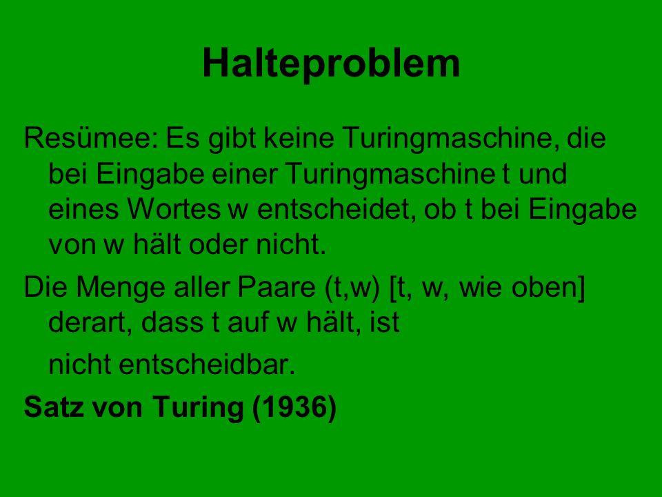 Halteproblem Resümee: Es gibt keine Turingmaschine, die bei Eingabe einer Turingmaschine t und eines Wortes w entscheidet, ob t bei Eingabe von w hält