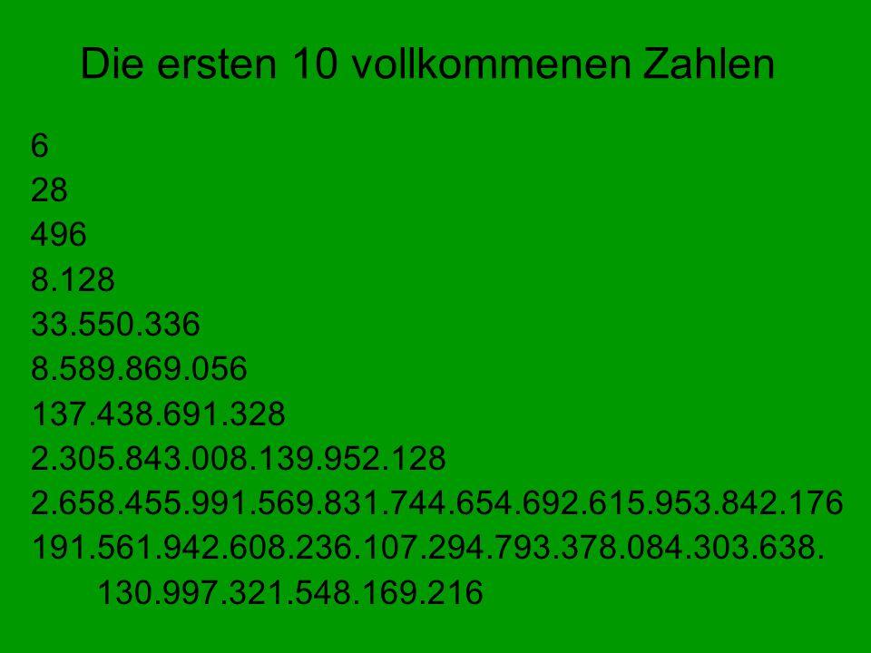 Die ersten 10 vollkommenen Zahlen 6 28 496 8.128 33.550.336 8.589.869.056 137.438.691.328 2.305.843.008.139.952.128 2.658.455.991.569.831.744.654.692.