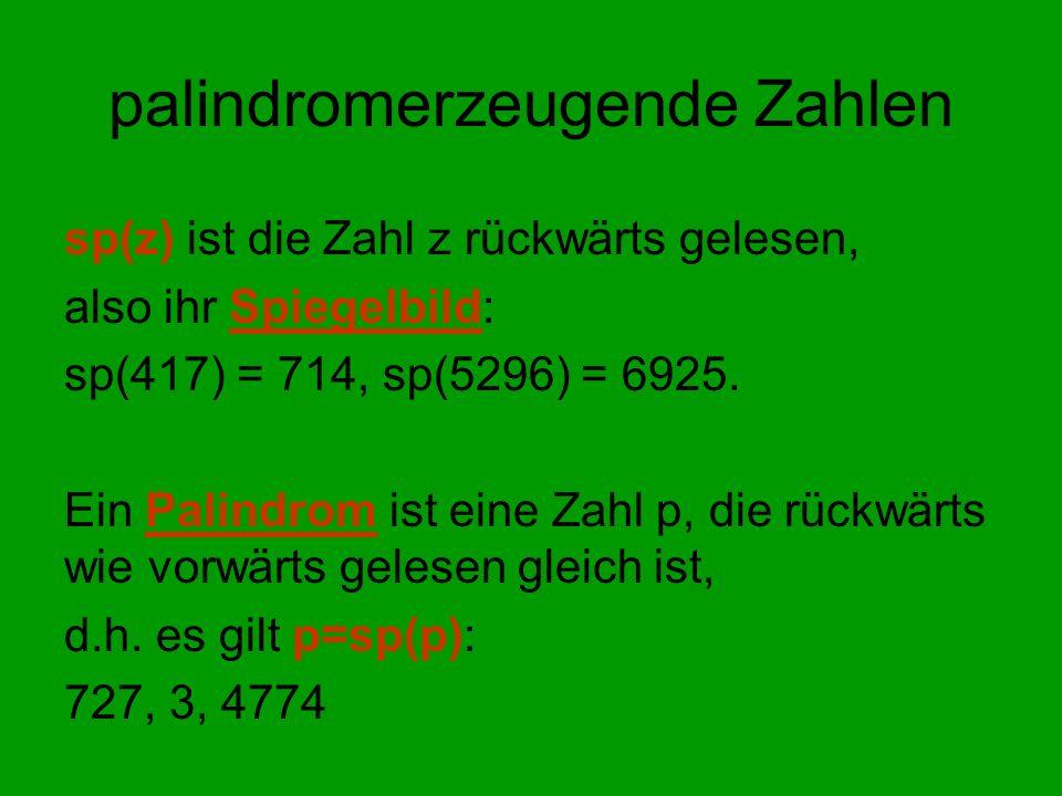 palindromerzeugende Zahlen sp(z) ist die Zahl z rückwärts gelesen, also ihr Spiegelbild: sp(417) = 714, sp(5296) = 6925. Ein Palindrom ist eine Zahl p