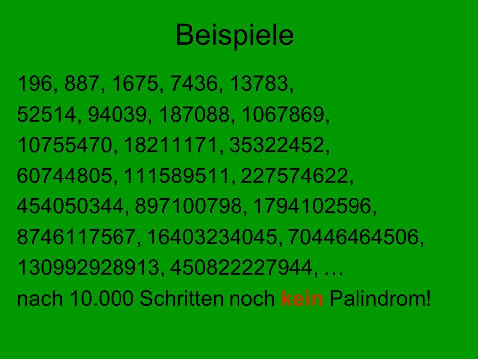 Beispiele 196, 887, 1675, 7436, 13783, 52514, 94039, 187088, 1067869, 10755470, 18211171, 35322452, 60744805, 111589511, 227574622, 454050344, 8971007