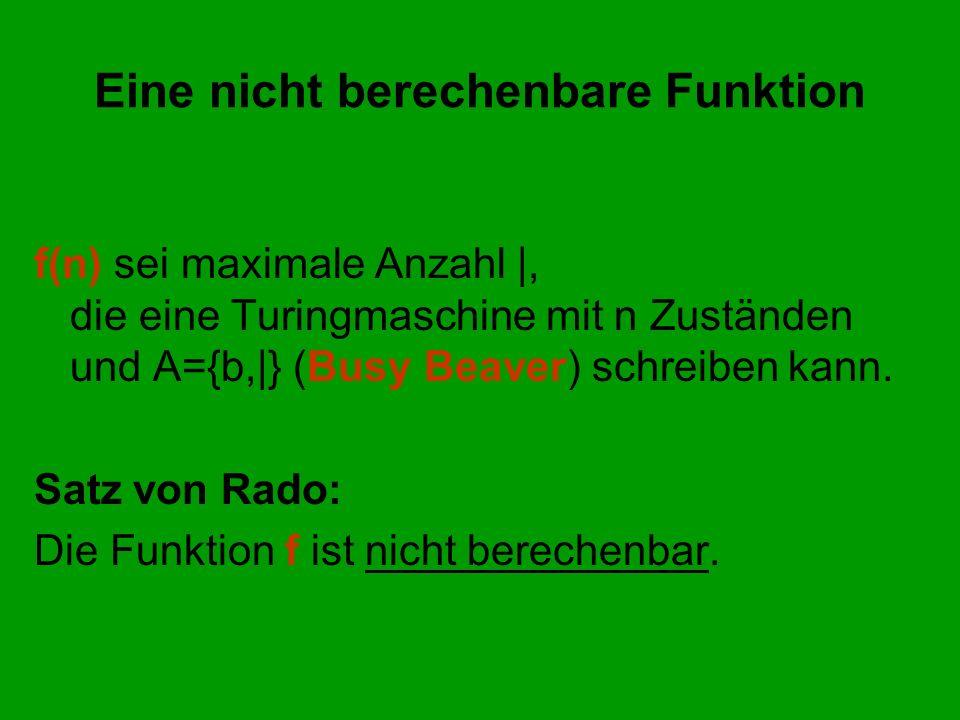 Eine nicht berechenbare Funktion f(n) sei maximale Anzahl |, die eine Turingmaschine mit n Zuständen und A={b,|} (Busy Beaver) schreiben kann. Satz vo