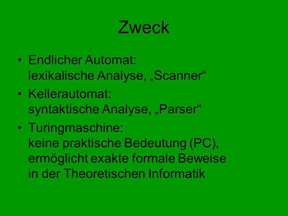 Zweck Endlicher Automat: lexikalische Analyse, Scanner Kellerautomat: syntaktische Analyse, Parser Turingmaschine: keine praktische Bedeutung (PC), ermöglicht exakte formale Beweise in der Theoretischen Informatik