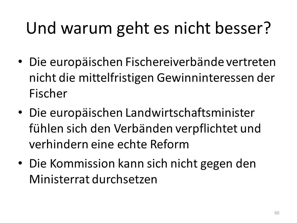 Und warum geht es nicht besser? Die europäischen Fischereiverbände vertreten nicht die mittelfristigen Gewinninteressen der Fischer Die europäischen L