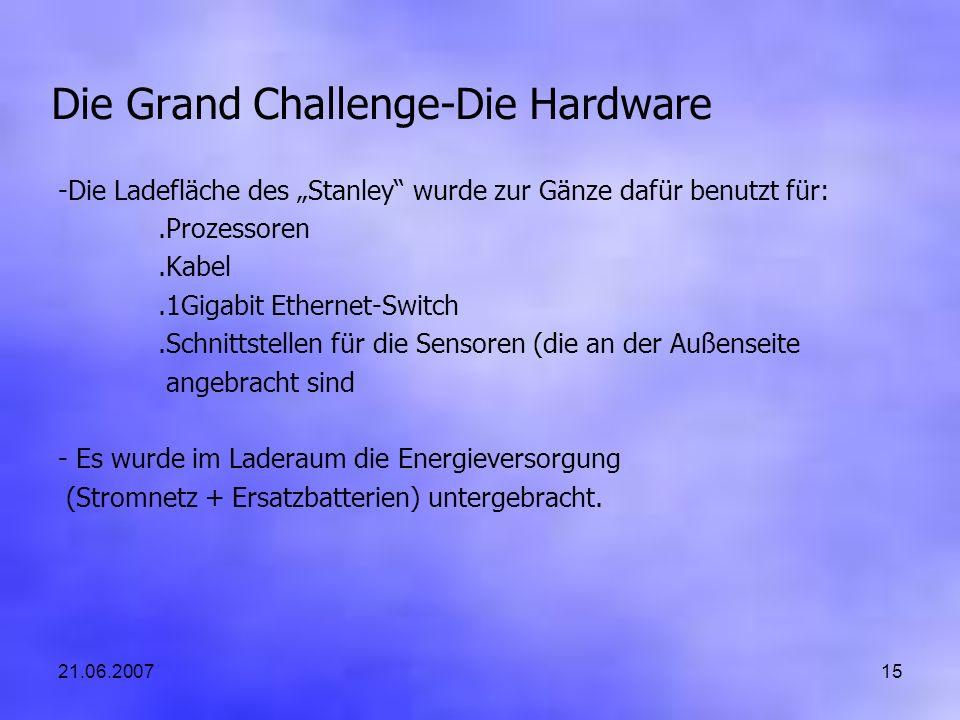 21.06.200715 Die Grand Challenge-Die Hardware -Die Ladefläche des Stanley wurde zur Gänze dafür benutzt für:.Prozessoren.Kabel.1Gigabit Ethernet-Switc