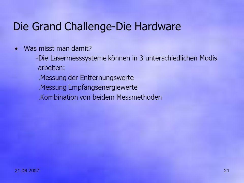 21.06.200721 Die Grand Challenge-Die Hardware Was misst man damit? -Die Lasermesssysteme können in 3 unterschiedlichen Modis arbeiten:.Messung der Ent
