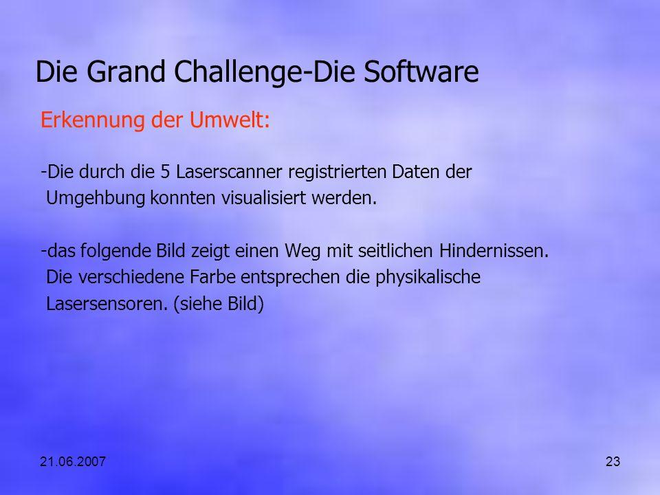 21.06.200723 Die Grand Challenge-Die Software Erkennung der Umwelt: -Die durch die 5 Laserscanner registrierten Daten der Umgehbung konnten visualisiert werden.