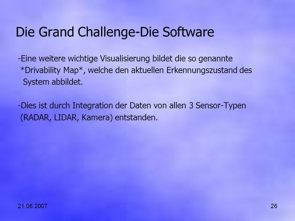 21.06.200726 Die Grand Challenge-Die Software -Eine weitere wichtige Visualisierung bildet die so genannte *Drivability Map*, welche den aktuellen Erkennungszustand des System abbildet.
