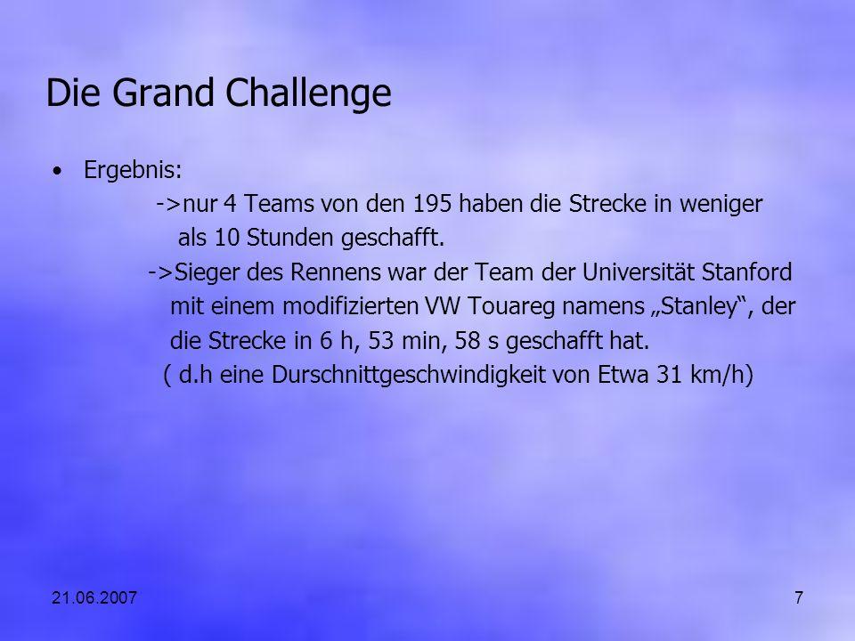 21.06.20077 Die Grand Challenge Ergebnis: ->nur 4 Teams von den 195 haben die Strecke in weniger als 10 Stunden geschafft. ->Sieger des Rennens war de