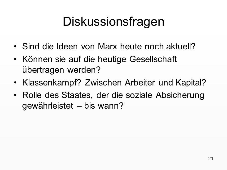 21 Diskussionsfragen Sind die Ideen von Marx heute noch aktuell? Können sie auf die heutige Gesellschaft übertragen werden? Klassenkampf? Zwischen Arb
