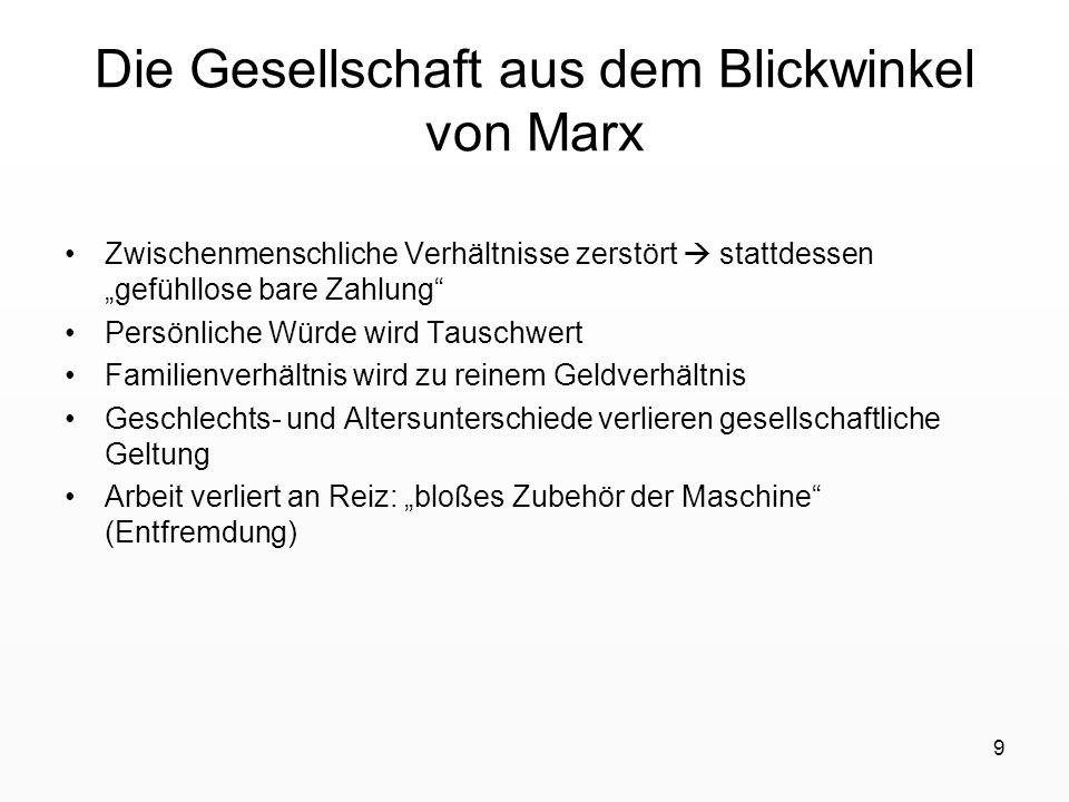 9 Die Gesellschaft aus dem Blickwinkel von Marx Zwischenmenschliche Verhältnisse zerstört stattdessen gefühllose bare Zahlung Persönliche Würde wird T