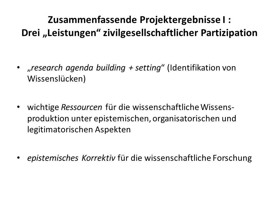 Zusammenfassende Projektergebnisse I : Drei Leistungen zivilgesellschaftlicher Partizipation research agenda building + setting (Identifikation von Wi