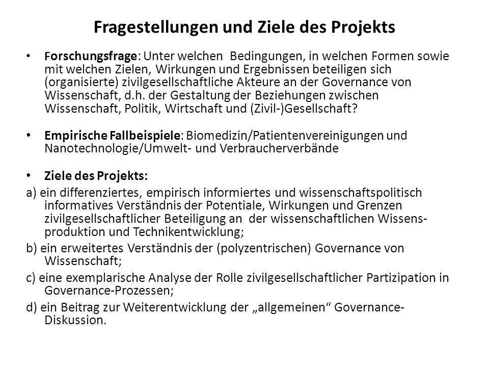 Fragestellungen und Ziele des Projekts F orschungsfrage: Unter welchen Bedingungen, in welchen Formen sowie mit welchen Zielen, Wirkungen und Ergebnis