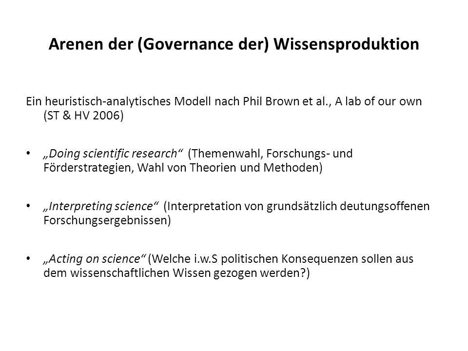 Arenen der (Governance der) Wissensproduktion Ein heuristisch-analytisches Modell nach Phil Brown et al., A lab of our own (ST & HV 2006) Doing scient