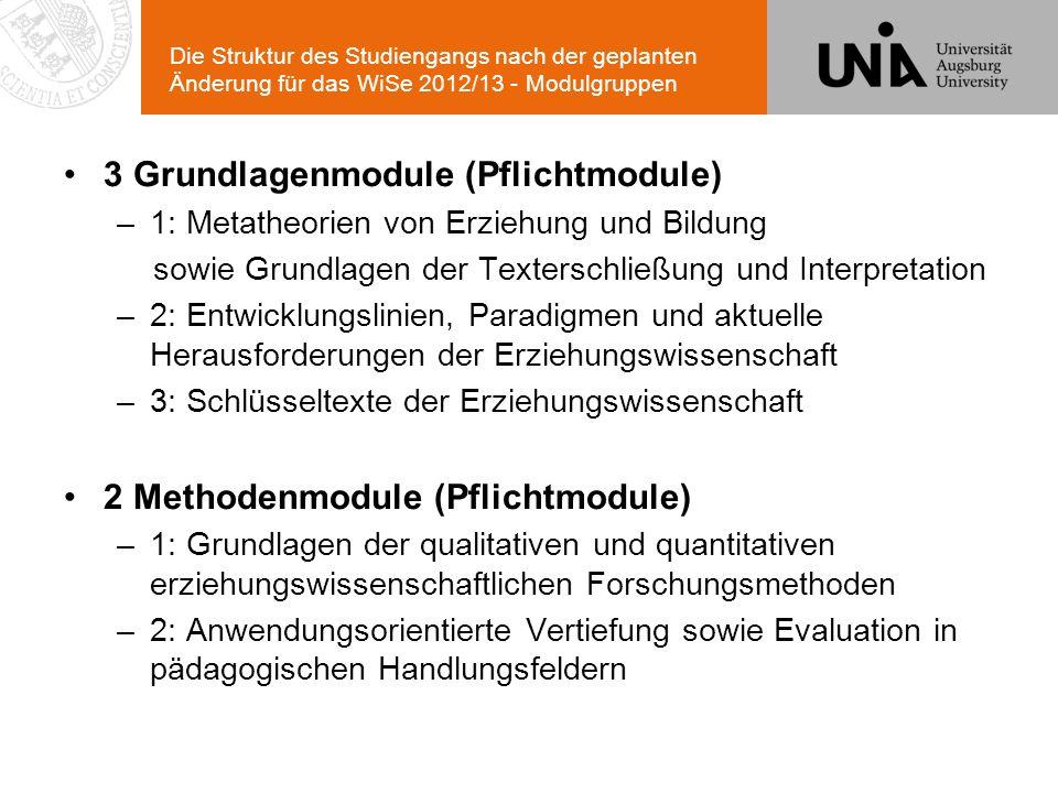 Die Struktur des Studiengangs nach der geplanten Änderung für das WiSe 2012/13 - Modulgruppen 3 Grundlagenmodule (Pflichtmodule) –1: Metatheorien von