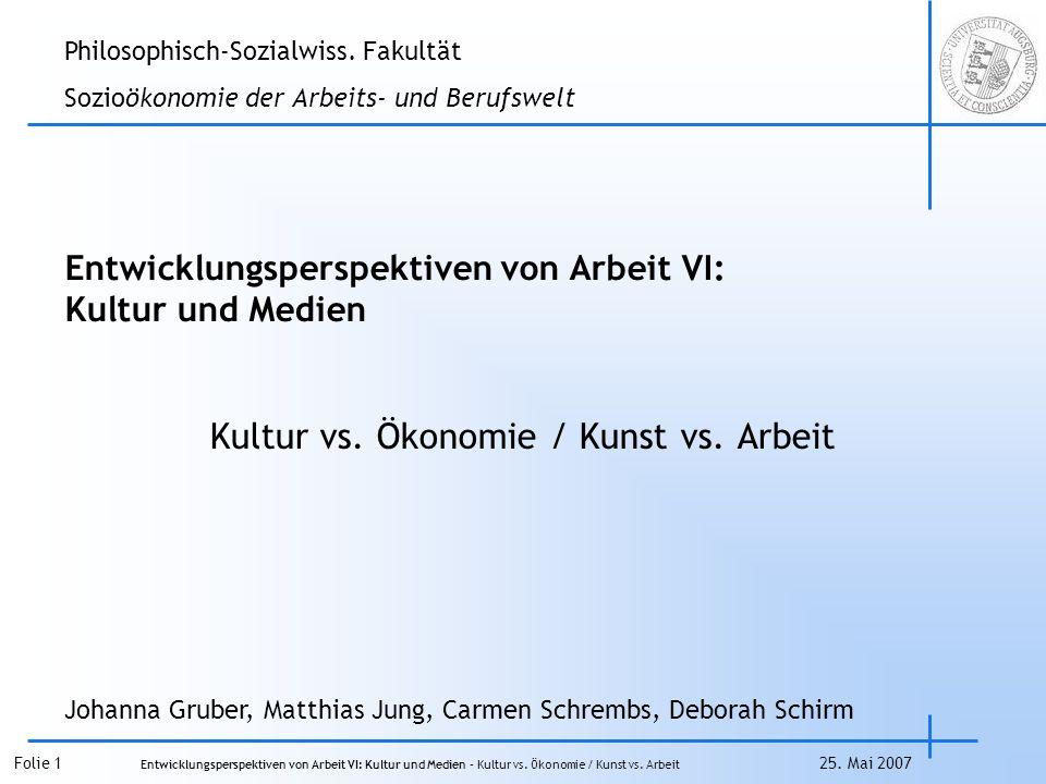 Folie 1 Entwicklungsperspektiven von Arbeit VI: Kultur und Medien – Kultur vs.