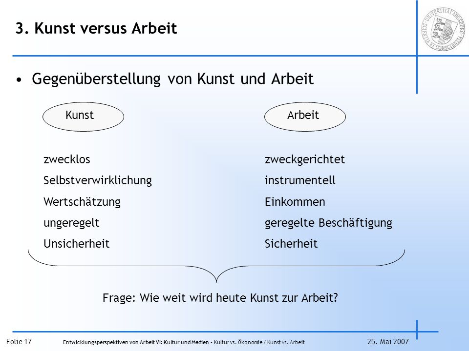Folie 17 Entwicklungsperspektiven von Arbeit VI: Kultur und Medien – Kultur vs.