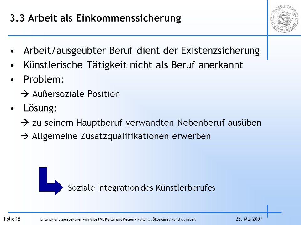 Folie 18 Entwicklungsperspektiven von Arbeit VI: Kultur und Medien – Kultur vs.