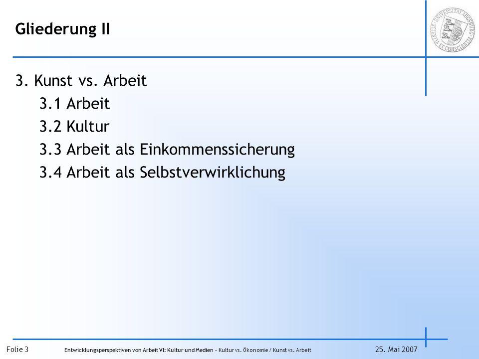Folie 14 Entwicklungsperspektiven von Arbeit VI: Kultur und Medien – Kultur vs.