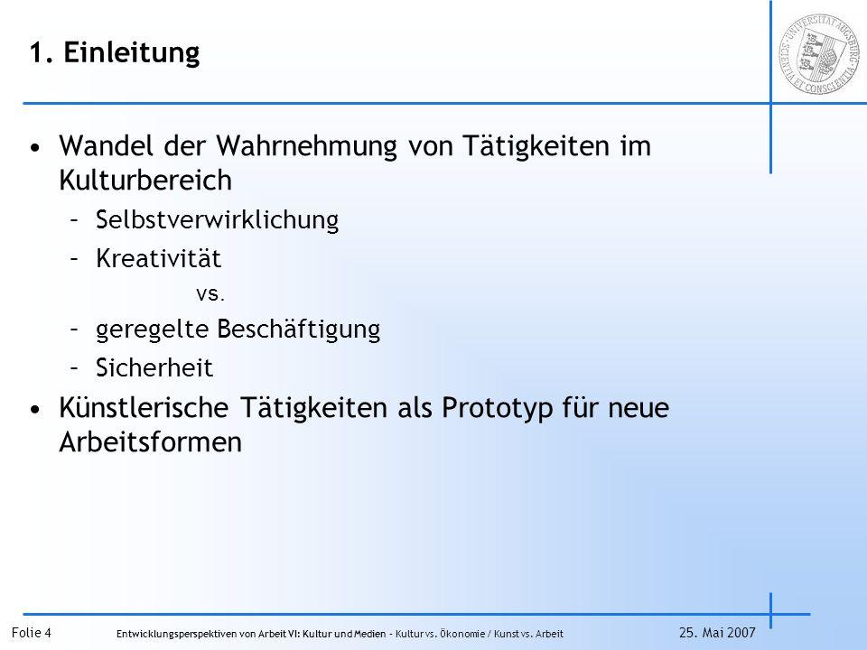 Folie 15 Entwicklungsperspektiven von Arbeit VI: Kultur und Medien – Kultur vs.