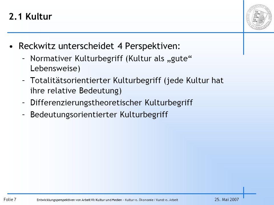 Folie 8 Entwicklungsperspektiven von Arbeit VI: Kultur und Medien – Kultur vs.