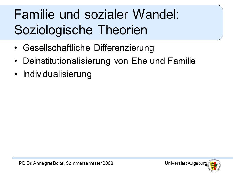 Universität AugsburgPD Dr. Annegret Bolte, Sommersemester 2008 Familie und sozialer Wandel: Soziologische Theorien Gesellschaftliche Differenzierung D