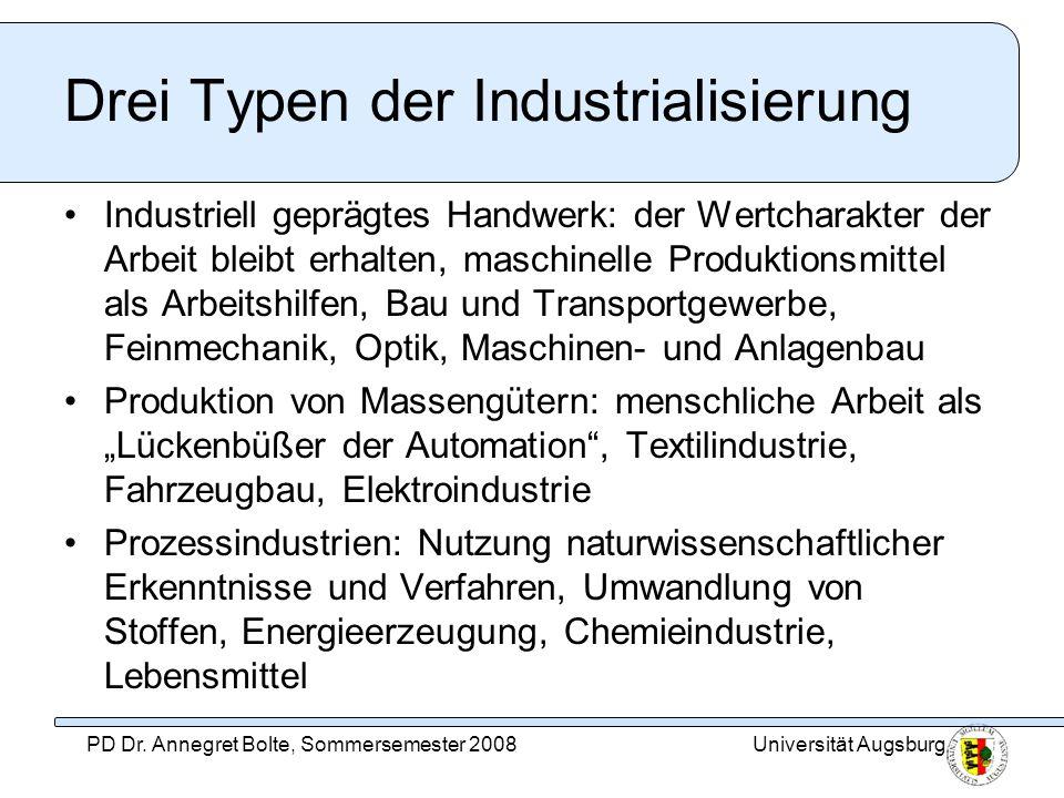 Universität AugsburgPD Dr. Annegret Bolte, Sommersemester 2008 Drei Typen der Industrialisierung Industriell geprägtes Handwerk: der Wertcharakter der