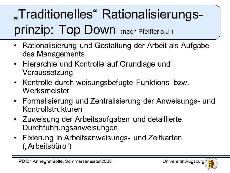 Universität AugsburgPD Dr. Annegret Bolte, Sommersemester 2008 Traditionelles Rationalisierungs- prinzip: Top Down (nach Pfeiffer o.J.) Rationalisieru
