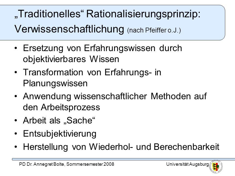 Universität AugsburgPD Dr. Annegret Bolte, Sommersemester 2008 Traditionelles Rationalisierungsprinzip: Verwissenschaftlichung (nach Pfeiffer o.J.) Er