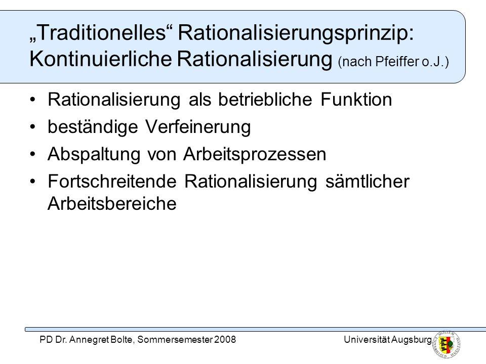 Universität AugsburgPD Dr. Annegret Bolte, Sommersemester 2008 Traditionelles Rationalisierungsprinzip: Kontinuierliche Rationalisierung (nach Pfeiffe