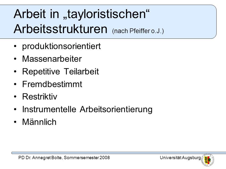 Universität AugsburgPD Dr. Annegret Bolte, Sommersemester 2008 Arbeit in tayloristischen Arbeitsstrukturen (nach Pfeiffer o.J.) produktionsorientiert