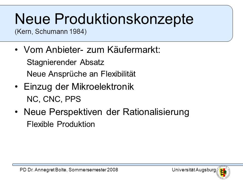 Universität AugsburgPD Dr. Annegret Bolte, Sommersemester 2008 Neue Produktionskonzepte (Kern, Schumann 1984) Vom Anbieter- zum Käufermarkt: Stagniere