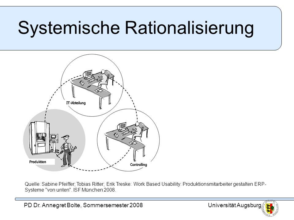 Universität AugsburgPD Dr. Annegret Bolte, Sommersemester 2008 Systemische Rationalisierung Quelle: Sabine Pfeiffer; Tobias Ritter; Erik Treske: Work