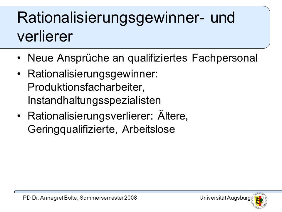 Universität AugsburgPD Dr. Annegret Bolte, Sommersemester 2008 Rationalisierungsgewinner- und verlierer Neue Ansprüche an qualifiziertes Fachpersonal