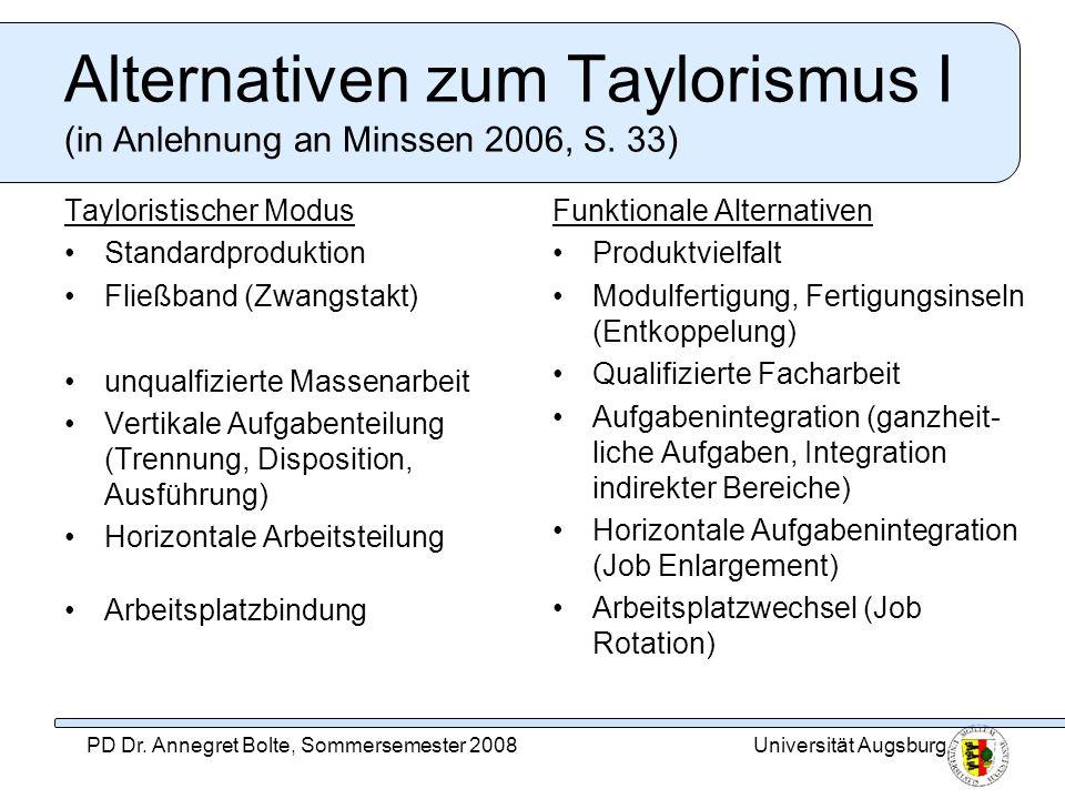 Universität AugsburgPD Dr. Annegret Bolte, Sommersemester 2008 Alternativen zum Taylorismus I (in Anlehnung an Minssen 2006, S. 33) Tayloristischer Mo