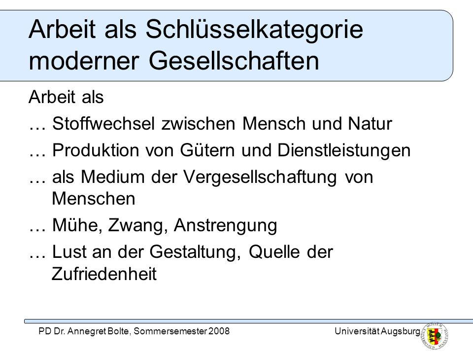 Universität AugsburgPD Dr. Annegret Bolte, Sommersemester 2008 Arbeit als Schlüsselkategorie moderner Gesellschaften Arbeit als … Stoffwechsel zwische